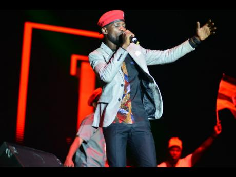 Bobi Wine performs at Rebel Salute in January 2020.