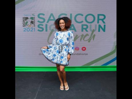 Double World U-20 champion, Jamaica track athlete, Briana Williams, dazzles in this blue outfit after being introduced as the 2021 Sigma Run patron.