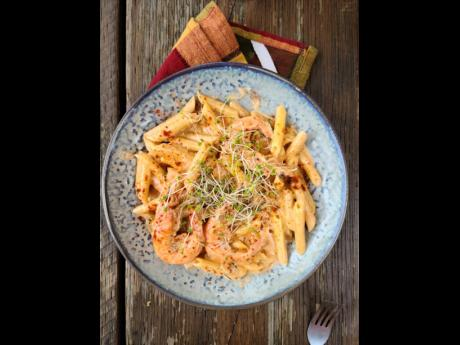 Chef Noel's peppered shrimp pasta.