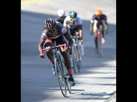 Cyclist Oshane Williams in action at the National Stadium on Sunday, February 11, 2018.