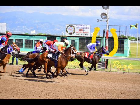 Horses in the early stages of the third race over 1820m at Caymanas Park, in Portmore, St Catherine on Saturday, January 16, 2021. The race was won by BERN NOTICE, ridden by Omar Walker.