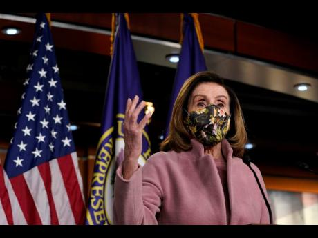 House Speaker Nancy Pelosi speaks during a news conference on Capitol Hill in Washington on Thursday.