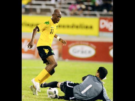 Luton Shelton (file) in action during a 1-0 win for Jamaica over Canada in an international friendly match on Sunday, January 31, 2010.