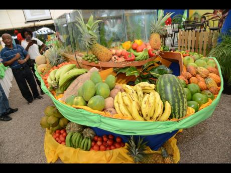 Fruits and vegetables on display at the annual Denbigh Agricultural Show.