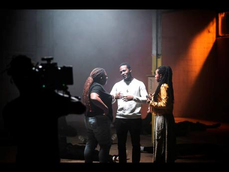From left: Film director Kelly Fyffe-Marshall consults with poet Komi Olaf and actress Donisha Prendergast behind the scenes of 'Black Bodies'.