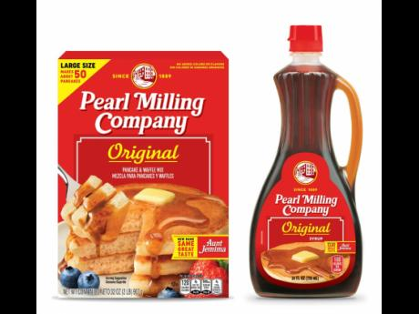 Quaker Oats' Pearl Milling Company brand pancake mix and syrup, formerly the Aunt Jemima brand. Aunt Jemima-branded products will continue to be sold until June 2021, when the packaging will officially change over.