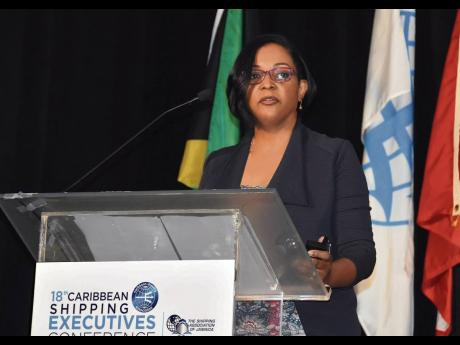 Anna Hamilton, CEO of Jamaica Freight and Shipping C. Ltd, makes her contribution during a panel discussion at the Caribbean Shipping Executives Conference held in Jamaica in 2019. Hamilton is one of two new members of the Managing Committee of the Shippin