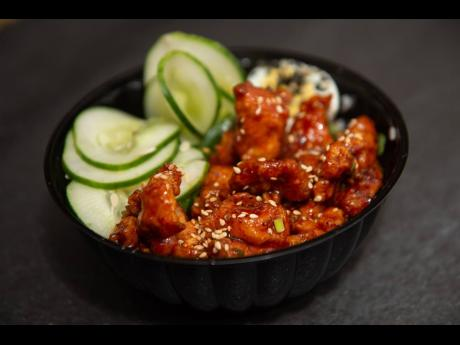 The Korean BBQ fried chicken rice bowl.