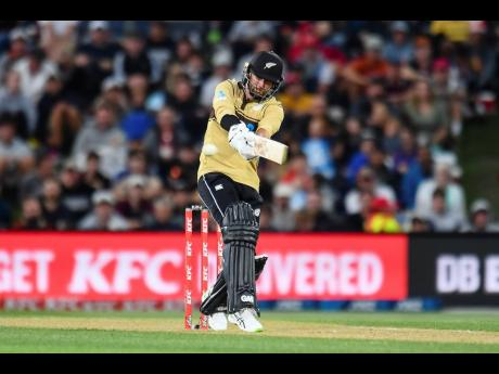 New Zealand's Devon Conway bats during the first T20 cricket international between Australia and New Zealand at Hagley Oval in Christchurch, New Zealand, yesterday.