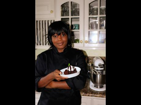 4. Chef Sharicka Clarke shows her healthy yet sweet dessert to the camera.