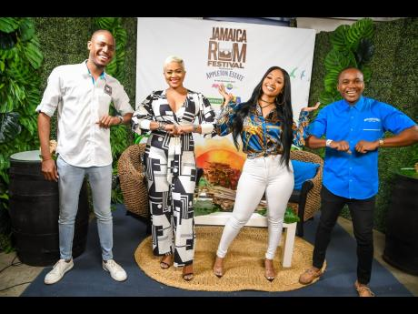 From left: Festival Director Valon Thorpe joins host Debbie Bissoon; dancehall artiste Shenseea; and Kamal Powell, Appleton Estate's marketing manager for Jamaica and the export markets behind the scenes of the Jamaica Rum Festival virtual concert.