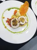 Drunken Plantain Stuffed Pork Roulade with a Dragon & Coffee Sweet Potato Puree and a Rosted Corn Salsa.