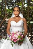 The sweetheart beaded bodice of this strapless tulle ballgown by Maggie Sottero is good for the tropical destination bride who has dreams of being Cinderella for just a day.