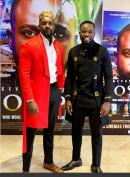 Ghanian actor and TV presenter Mawuli Gavor (left) and Jamaican actor Kevoy Burton in Nigeria at the premiere screening of their film, 'Joseph', co-written and directed by Marcia Weekes