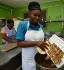 Preparing the dough is an important part of the process for Johnson, whether she's baking cookies or any other of her breadfruit treats.
